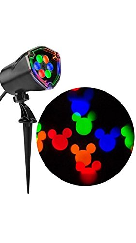 (Gemmy Mickey Mouse Disney Fantastic Flurry Multi-function Red, Green, Blue ,Yellow LED Multi-design Christmas Outdoor Stake Light Projector)