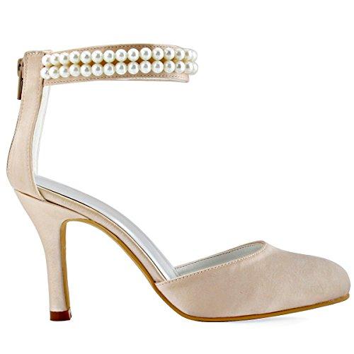 Satin Mariage Elegantpark Aj3065 Femme Bout Talon Chaussures Ferme Champagne Chaine De Fermeture Aiguille Eclair Pumps Perle 5qHq6