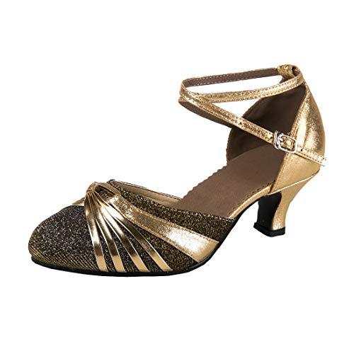 DorkasDE Damen Mädchen Tanzschuhe Latein Ballroom Tanz Schuhe Gummi Sohle mit 5.5cm Absatz Gold