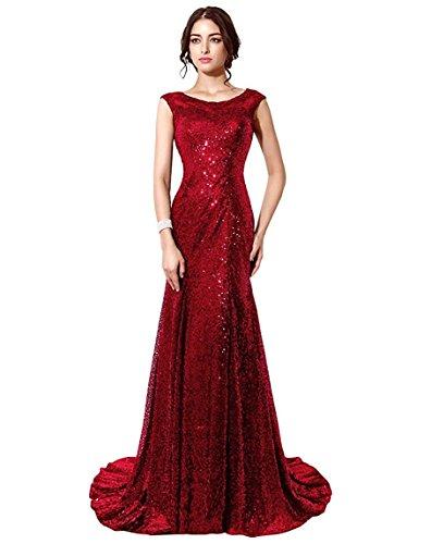 Belle House Burgundy Sequins Formal Dress Sheer Neck Prom Dresses