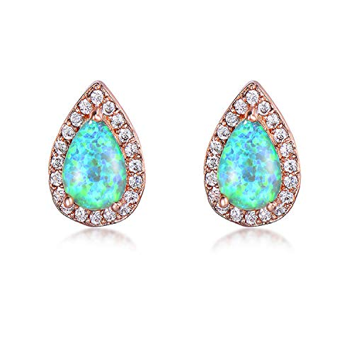 Water Drop White/Green Fire Opal Stud Earrings for Women Vintage Fashion Rose Gold Filled Mystic Birthstone Earrings Gift,Green Opal Earrings