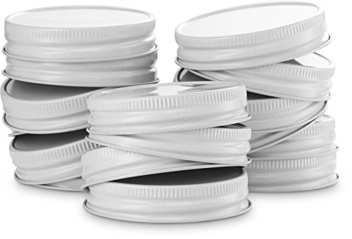 KooK Mason Jar Lids Regular Mouth, Leak Proof and Secure, Red, Gold, Silver, White, 16 pack (White) - Jar White Lid