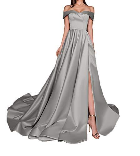 Brautjungfernkleider Einfach Grau A Ballkleider Charmant Abendkleider Rock Damen Linie Satin Langes Partykleider Y6Tqpw5