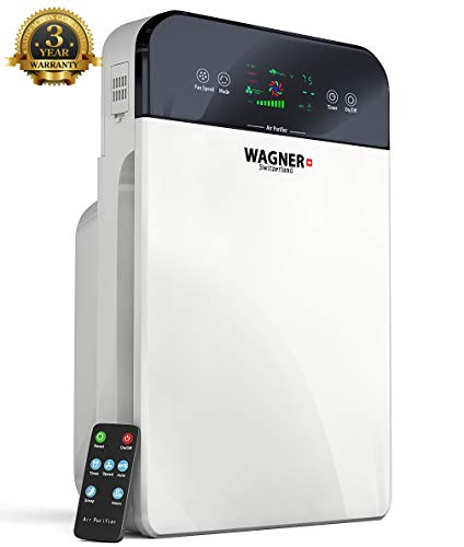 WAGNER Switzerland Premium Air Purifier H885, Swiss i-Sense Technology, for Rooms up to 400 sq.ft Removes 99.7% of Mold, Odors, Dust, Smoke, Allergens and Germs, True HEPA Filter 5-Stage Purification.