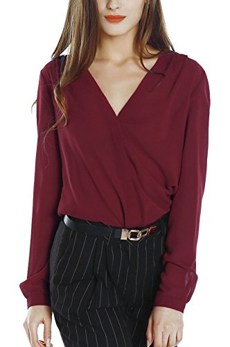 Long Sleeve V-neck Blouse - Womens V Neck Long Sleeve Ruffled Shoulder Solid Chiffon Blouse (X-Large, Wine Red)