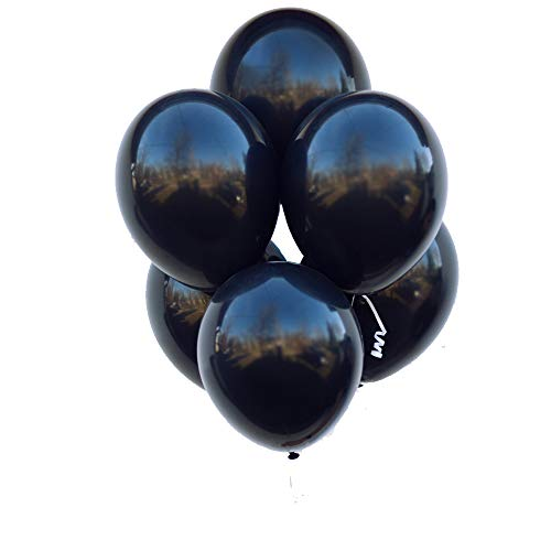 Pearl Black Latex - Black Party Balloons 12inch 100 Pcs Latex Black Balloons Birthday Balloons Helium Balloons Party Decoration Compatible Wedding Birthday Christmas Party - Pearl Black
