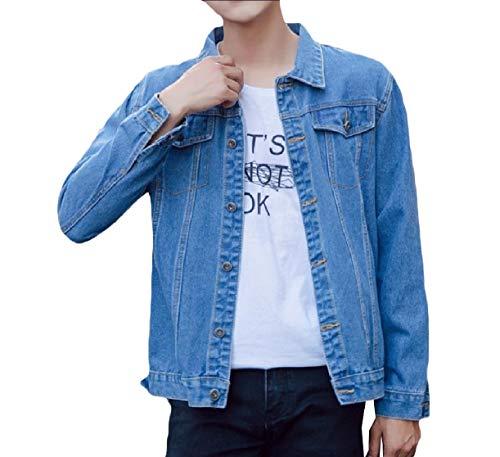 Howme-Men Classic-Fit Autumn Slim Fit Button Juniors' Cowboy Jackets Light Blue