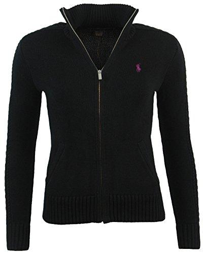 Polo Ralph Lauren Womens Full Zip Cardigan Sweater - S - Black (Purple Logo)