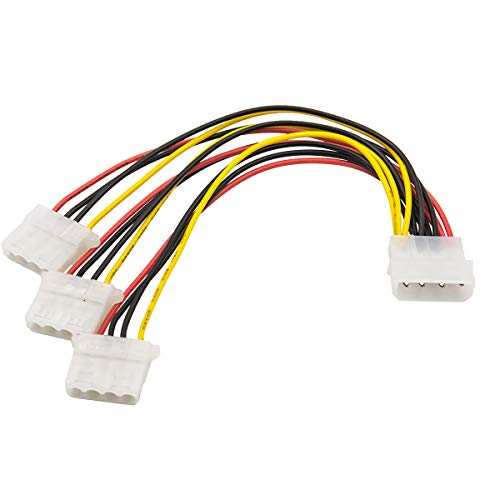 Computer Molex 4 Pin Power Supply to 3 Port Molex IDE Y Splitter Cable 2 Pack (Small Molex Power Supply)