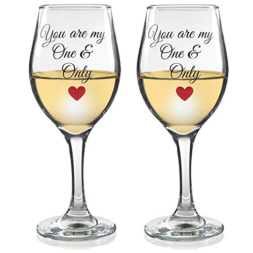 You are My One and Only Wine Glass Set - Matching Glassware for Couples or Newlyweds - Valentine's Day Drinkware -