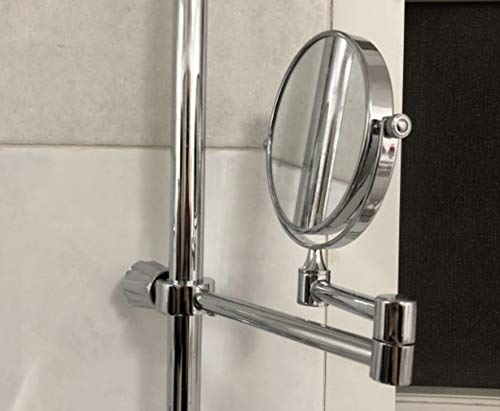Andantabile Two Sided No Drill Slide Bar Mirror with Magnification - Shower Bar Mount Holder Clamp without Drilling Wall - For Shaving, Makeup, Rinse - Double Sided Mirror (Silver Gloss) by Andantabile