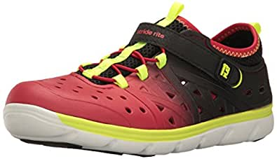 Stride Rite Made 2 Play Phibian Sneaker Sandal Water Shoe (Toddler/Little Kid/Big Kid), Black/Red, 1 M US Little Kid