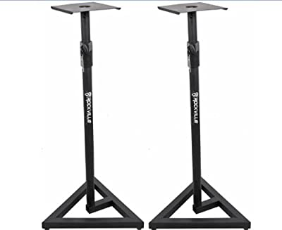 Package: Pair of Rockville RVSM1 Heavy Duty Near-Field Studio Monitor Stands w/ Adjustable Height for Use in any Studio Environment by Rockville