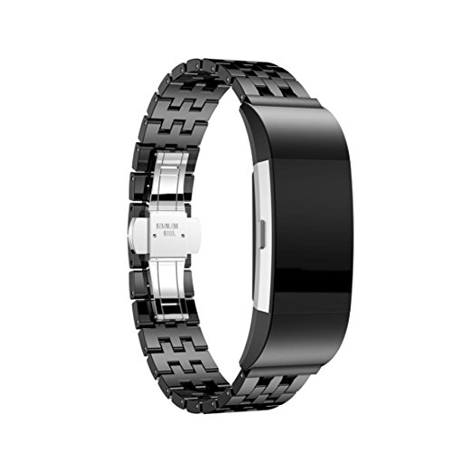 Price comparison product image For Fitbit Charge 2, Outsta Ceramic Butterfly Stainless Closure Steel Watch Band Wrist Strap (Black)
