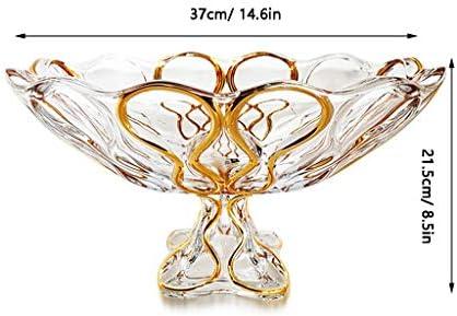 フルーツボウル 欧州のクリスタルガラスのキッチンフルーツボウルストレージラック、カウンターフルーツスナック洋菓子ナッツキャンディープレートは、リビングルームパーティー用スタンドやウェディング、ホームデコレーション、21x16cm表示