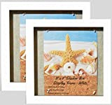 (2-pack) 8''x8'' White Display Shadow Box Frame w/ Linen Background and 16 Stick Pins - Ready To Hang Shadowbox Picture Frame - Easy to Use - Box Display Frame, Baby and Sports Memorabilia Wedding Baby
