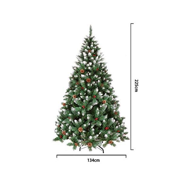 YOUKE Albero di Natale Artificiale di Pino Dolce Glassato Decorato con Pigne e Bacche Rosse,Facile da Installare, Materiale in PVC (1400Tips, 2.25M) 7 spesavip