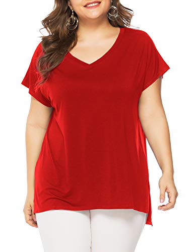 - Florboom Womens Plus Size T Shirt Short Sleeve Tee Shirts V Neck Tshirts Red 4X