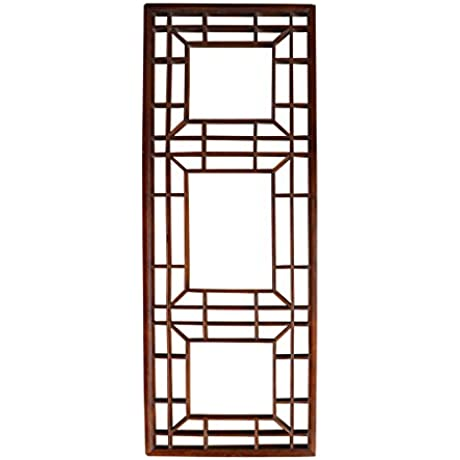 Vintage Restored Oriental Zen Geometric Wood Wall Panel Acs2341