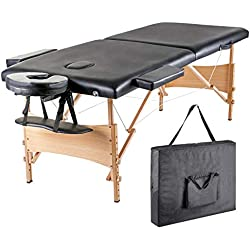 """Blissun 84"""" Portable Massage Table, Professional Folding Facial SPA Bed (Black)"""