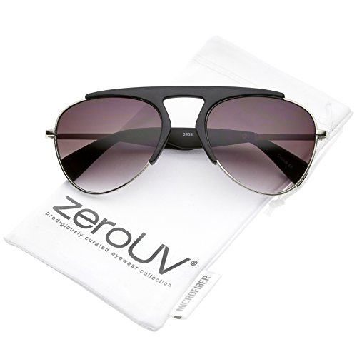 zeroUV - Bold Brow Bar Keyhole Nose Bridge Neutral-Colored Lens Aviator Sunglasses 56mm (Matte Black-Silver / - Nose Bridge Keyhole
