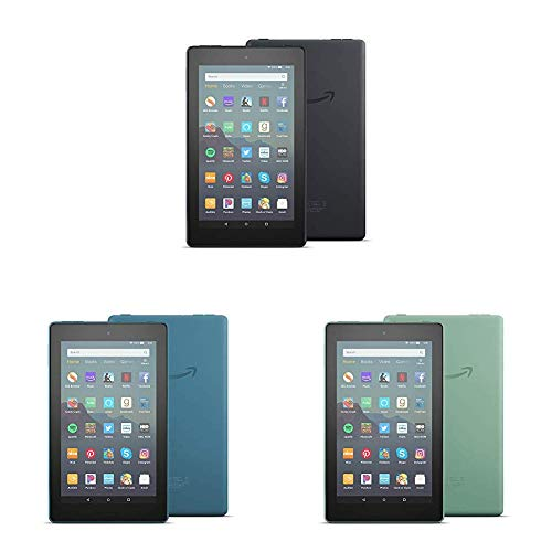 All-New Fire 7 Tablet 3-pack (7″ display, 16 GB) – Black/Blue/Sage