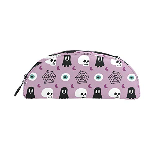 JERECY Halloween Skull Spider Web Pattern Pencil Case Pen Bag Pouch Holder Coin Purse Cosmetic Makeup for Trave Office ()