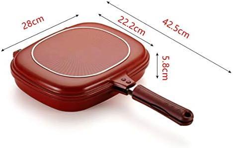 73JohnPol Outil de Cuisson de Barbecue antiadhésif pour poêle à Double Face, Stable et Durable, idéal pour la Cuisson à la Maison, Rouge