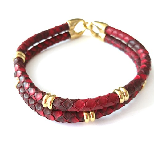 BeiChong Fashion 5MM Python Leather Bracelet Bangle with Stainless Steel Buckle for Men Gift (red gold)