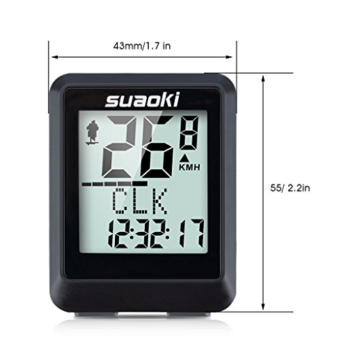 Suaoki Wireless Bike Computer Bicycle Speedometer Bike Odometer with LCD Backlight, 5 Language Displays, Auto Power On/Off Systems, Multi Function for Cycling by SUAOKI (Image #1)