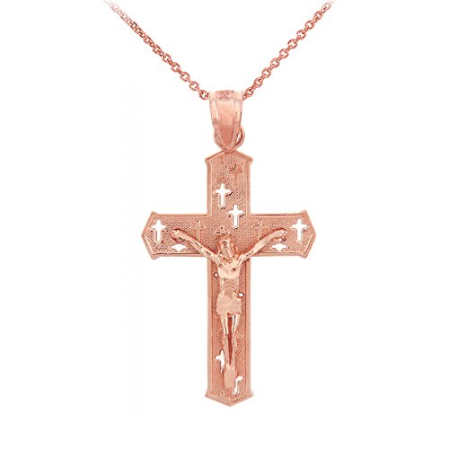 Collier Femme Pendentif 14 Ct Or Rose Crucifix - The Croixes Crucifix (Livré avec une 45cm Chaîne)