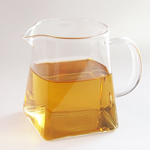 (12 oz Pitcher Glass Tea Pitcher Small Glass Pitcher High Temperature Resistant Clear Glass Tea Cup Chinese Kungfu Teaset 350ml Fair Cups with Handle Cha Hai Gong Dao Bei Gongfu Teaware Drinkware)