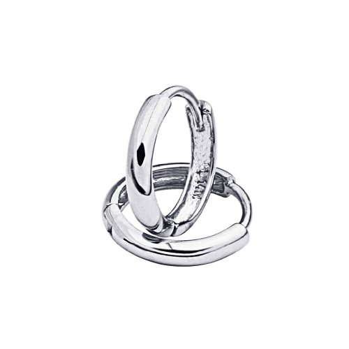 14k White Gold 2mm Thickness Huggies Earrings (10 x 10 mm) ()