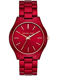 Women's Slim Runway Quartz Watch with Stainless-Steel-Plated Strap, red, 20 (Model: MK3895)