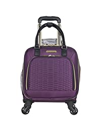 Aimee Kestenberg Polyester Twill Double Pocket Quilted Python 4-Wheel Underseater Carry-On Luggage, Plum