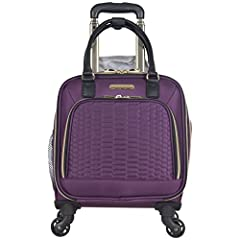 Stroll in style with this durable polyester twill with quilted python face 4-wheel spinner underseater business carry-on suitcase. Boasts a lightweight construction. Uses 4-wheel spinners that allow smooth 360 degree rotation while on the mov...