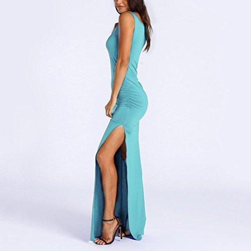 Ansenesna Vestidos Mujer Verano 2018 Fiesta Playa Vestido Maxi Largo Sin Mangas De Las Mujeres Atractivas del Verano del O Cuello Azul