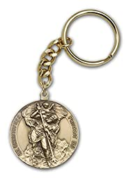 Made in USA! Men or Womens Catholic Antique Gold St. Christopher Keychain, Great for Men & Confirmation