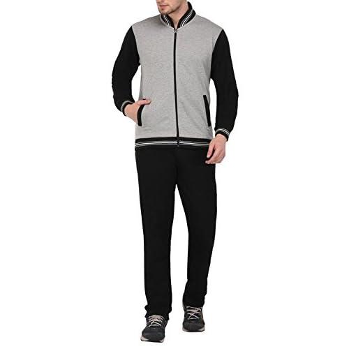 41Tbh5Kl1rL. SS500  - Vivid Bharti Men's Black Grey Tracksuit