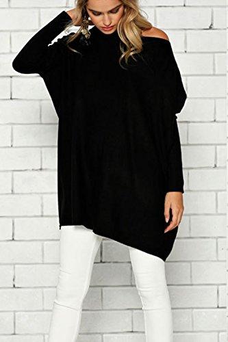 Taglia Fasumava Una Maglione Pullover Black Inverno In Le Solida Donne tYEtr