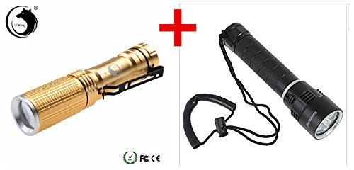 Professional 200 Meters - Waterproof Security 3 X Cree Xm-l2 LED Flashlight 5000 Lumens + Ip68 Waterproofness Professional Diving Flashlight Underwater up to 200m+free golden torch free gift