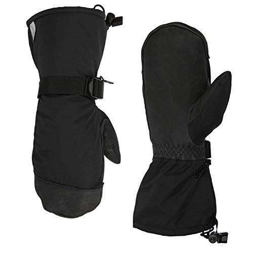 OZERO Winter Mittens, -40°F Cold Proof Waterproof Mitten - Five Fingers - 150g 3M Thinsulate Insulated Cotton & 5-inch Long Sleeve - Waterproof Nylon & Cowhide Leather Palm for Women/Men - Black/XL