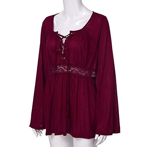 Moda Donna Grossa Semplice Cravatta Da Petto Rosso Camicetta Con Vita Top Vino In taglia A Casual top Firally Lunghe Cime Maniche w0XBZTq