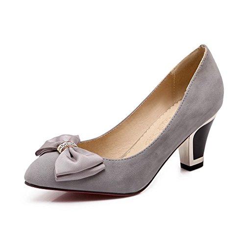 BalaMasa Gray Solid On Rubber Toe Kitten Metal Bowknot Heels Shoes Pull Pumps Girls Pointed HxHUT