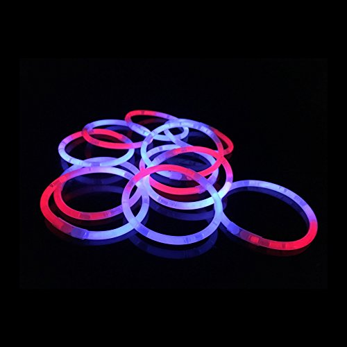 Fun Central P78 50pcs 8 Inch Glow in The Dark Bracelets, Light Up Sticks Bulk, Glow in The Dark Sticks, Glow Sticks Set for Kids - Red White Blue]()