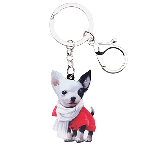 Bonsny Acrylic Patterned Chain Chihuahua Dog Key Chains For Women Jewelry Car Purse Handbag Charms (Multicoloured) ()