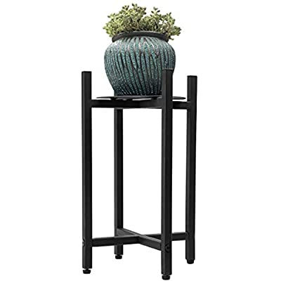 Sunnyglade Plant Stand Metal Potted Plant Holder Sturdy, Galvanized Steel Pot Stand with Stylish Mid-Century Design, Medium for Indoor, Outdoor House, Garden & Patio (17