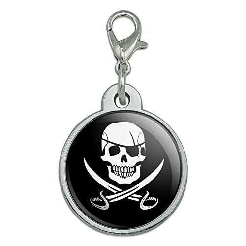 Swords Jolly Roger (Pirate Skull Crossed Swords Jolly Roger Chrome Plated Metal Pet Dog Cat ID Tag - Small)