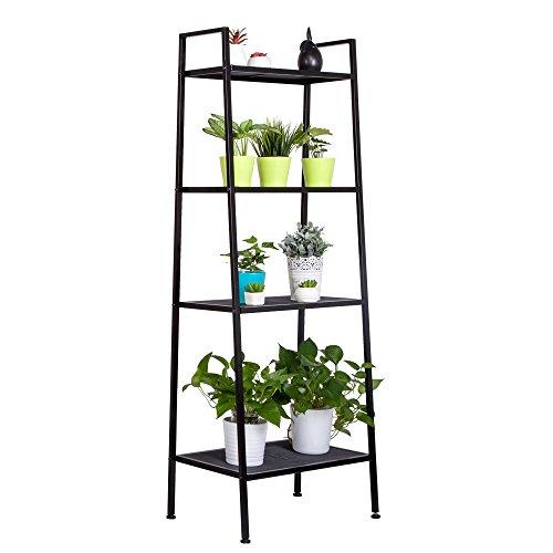 4 Tier Bookshelf,Wall Bookshelves Leaning Ladder Bookshelf Metal Book Rack Narrow Shelving Unit Entryway Cabinet Organizer Display Home Furniture (Ladder Library Shelf)