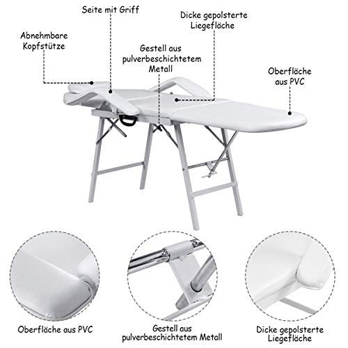 Adjustable Barber Spa Salon Massage Bed Facial Beauty Tattoo Chair White (73'') by Gentle Shower (Image #4)